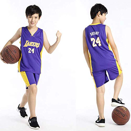 anking Kids Basketball Jerseys Set - NBA Los Angeles Lakers #24 Kobe Bryant Basketball Uniform Summer Shirt Vest Top Shorts for Boys and Girls,Púrpura,3XS