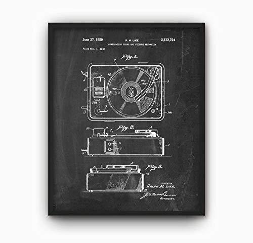 HRHRHREU HRHREU Plattenspieler mit patentiertem Druck von 1950 Plattenspieler Design Plattenspieler Erfindung Plattenspieler Stylus Musikraum Dekor