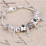 Pink Crystal Charm pulseras y brazaletes de plata para las mujeres con Aliexpress Murano Beads pulsera de plata Femme joyería SL669A
