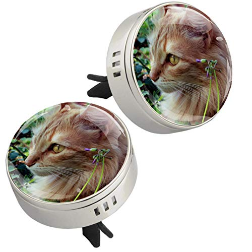 Yumansis Adorable Cat Silver 2 car aroma diffuser salking aroma diffuser Alloy metal Crystal glass Aromatherapy clip + 4 Refill pads