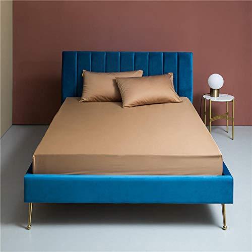 YFGY Sabana Ajustable 1 Persona Super King, Funda de colchón sólida, Cuatro Esquinas con sábana de Banda elástica para Dormitorio, apartamento marrón 200 * 220 cm
