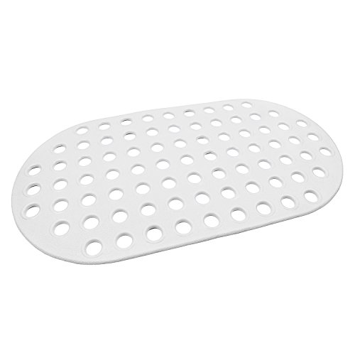 Paukin Big Hole Anti-slip Bath And Shower Mat Rubber Floor Mat Anti-Fatigue Drainage Mat Natural Rubber,Non-Toxic,Eco-Friendly,Anti-Mildew and Stain Resistant Oval White 27 x15 Inch