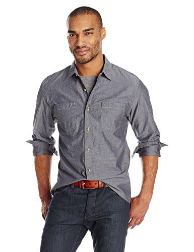 Goodthreads Men's Standard-Fit Long-Sleeve Chambray Shirt, Grey, Large