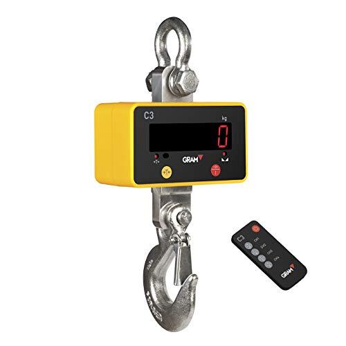 GRAM C3 Dinamómetro Báscula Gancho/Pantalla LED/Control remoto/Batería recargable/Resistencia peso industrial (500 kg / 100 g)