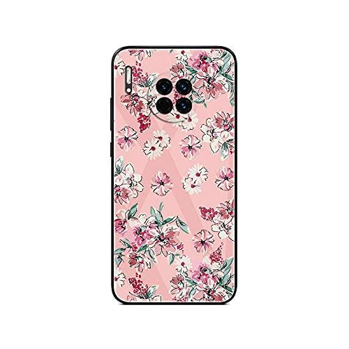 Lindas flores de dibujos animados para Huawei Mate 9 10 20 30 40 Pro Plus Mate 20 Lite vidrio templado teléfono Case-G11-para Mate 40 pro plus