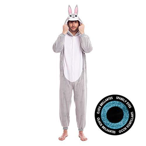 Disfraz Conejo Hombre Mujer Unisex Ojos Purpurina【Tallas Adulto S a L】[Talla M] Mono Entero Calentito Suave Cremallera Disfraces Carnaval Animales Desfiles Obras Teatro Actuaciones