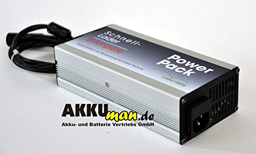 Ebike 6 A accu snellader voor e-bike Vision Powerpack voor Panasonic Kalkhoff Flyer Raleight Victoria ebike Pedelec reserveaccu Power Pack - 6 A lader Akkuman.de set