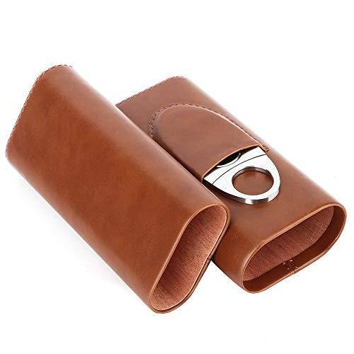 Hakeeta Leder Zeder Zigarren Humidor, Mini Qualität Leder Zigarren Box, Mini Portable, Portable, 3PCS Zeder, leicht zu tragen, für die Reise, 2 Farben, mit Zigarrenschneider(Braun)