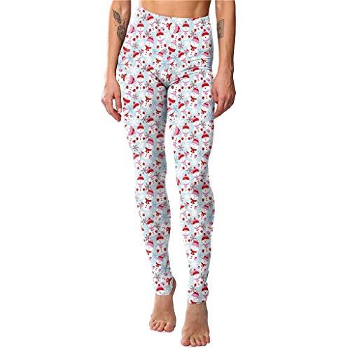 Iusun Women's High Waist Christmas Snowman Snowflake Print Yoga Pants Xmas Sports Leggings Trousers for Workout Running Sport Fitness Gym