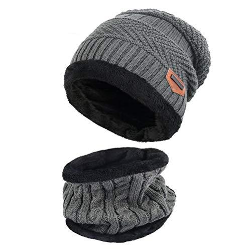 EDOTON Mütze Set Unisex Winter Warme Strickmütze mit Warmem Schal Dicken Schädel Cap (Grau)
