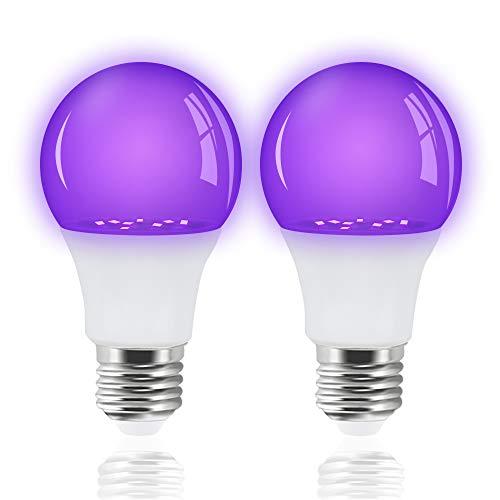 Bonlux Bombilla de luz negra UV E27, 385 – 400 nm nivel UVA, luz de fiesta para fiestas, sótanos, discotecas, clubes, bares, colores de neón, 5...