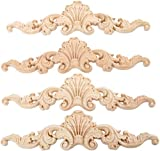 MUXSAM 4 piezas de 20 x 5 cm de madera tallada con apliques largos sin pintar,...