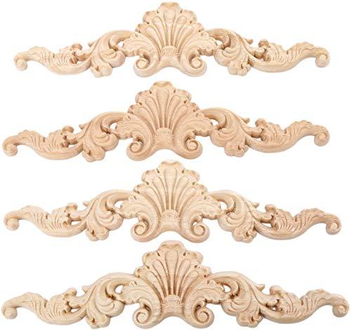 MUXSAM 4 piezas de 20 x 5 cm de madera tallada con apliques largos sin pintar, marco de decoración de puerta estilo europeo