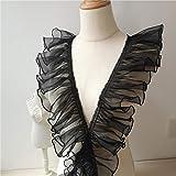 10cm Width x 4 Yards Length Organza Ruffled Pleated Lace Fabric Trim (Black)