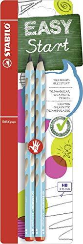 Ergonomischer Dreikant-Bleistift für Rechtshänder - STABILO EASYgraph in blau - 2er Pack - Härtegrad HB