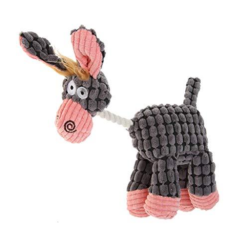 TUDUZ Sound Plüsch Hundespielzeug, Süß Esel-Modellierung Interaktive Hundespielzeug und Hundezahnreinigung, Geeignet für Große, Mittlere und Kleine Hunde oder Katzen (Grau)