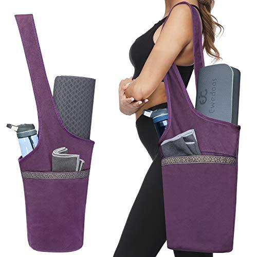 Ewedoos Yoga Mat Bag with Large Size Pocket and Zipper Pocket Fit Most Size Mats Purple