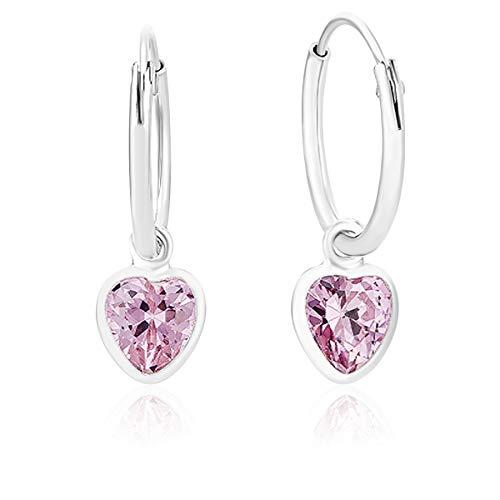DTPsilver® KLEINE Creolen Ohrringe 925 Sterling Silber mit Swarovski® Elements Kristall Herz - Mädchen - Dicke 1.2 mm - Durchmesser 12 mm - Farbe : Rosa