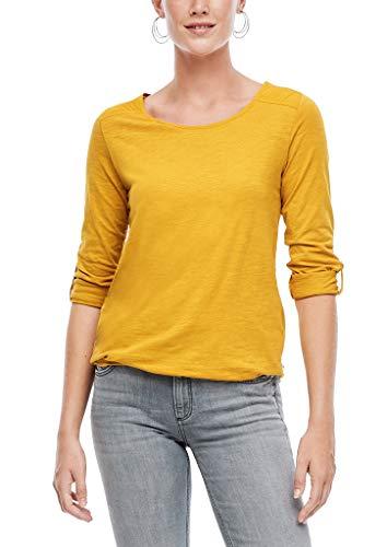 Q/S designed by - s.Oliver Damen Jerseyshirt mit gewebtem Insert golden yellow XL