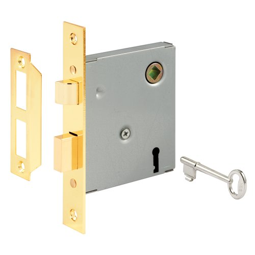"Prime-Line E 2294 Vintage Style Indoor Mortise Lock Assembly Kit – Cast Steel Construction, Brass Plated Finish, Antique Skeleton Key – Backset, 1/4"" Max Square Spindle - Reversible Latch Bolt"