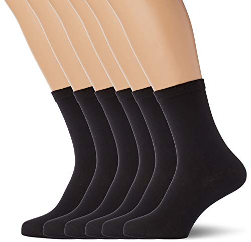 Dim Chaussette Pur coton x6 - Femme - Noir (Noir Noir) - 35/38 (Taille fabricant: 35-38)