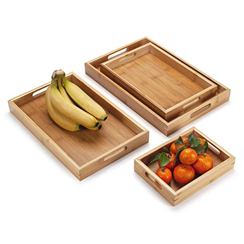 4 Pack, Bamboo Wooden Serving Tray, Rectangular Wood Tray with Handles, Natural Decorative Tray for Ottoman, Kitchen/Coffee Table