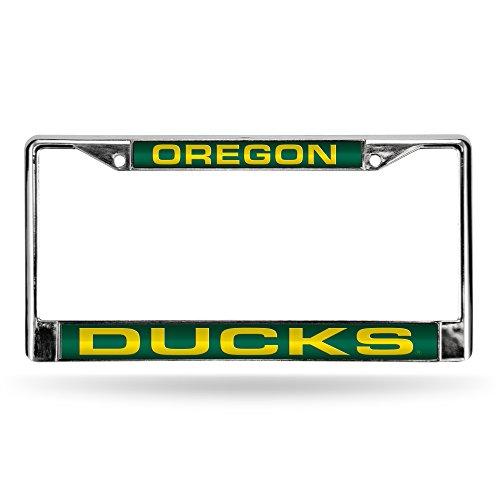 NCAA Oregon Ducks Laser Cut Inlaid Standard License Plate Frame, 6' x 12.25', Chrome