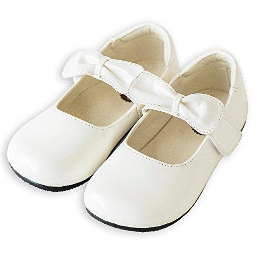 [キャサリンコテージ] フォーマル靴(女の子用) キッズ フォーマルシューズ TKST04 20cm リボンストラップ・白[OWT1] TAK