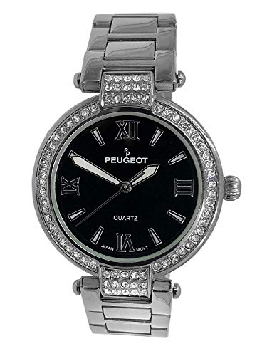 Peugeot Women Dress Watch with Crystal Bezel, Mother of Peal Dial with Roman Numeral & T-Bar Metal Link Adjustable Bracelet