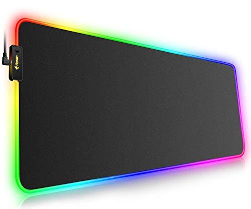 Hcman RGB Gaming Mauspad XXL - 800x300mm Mousepad mit Rutschfester Gummibasis, 7 LED Farben, 10 Beleuchtungs Modi Mouse Pad für Computer PC Professionelle Gamer(Schwarz)