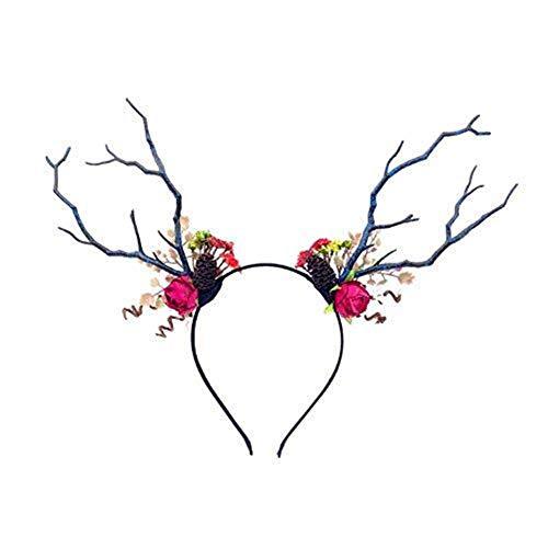 Kerst Antlers Hoofdband, Kerst Haar Band Volwassen Kid DIY Grappige Herten Antler Hoofdband met Bloemen Blossom Nieuwigheid Haarband (Kleur : F) taolichun-11.8
