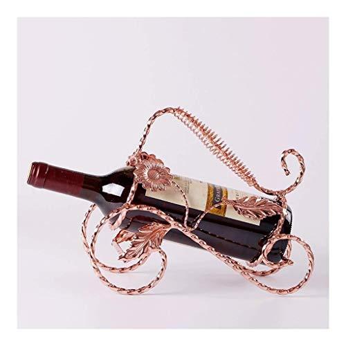 HJXSXHZ366 Estantería de Vino Estante Europeo del Vino botellero botellero Decorativa de Hierro botellero botellero salón Forjado Estante de Vino pequeño (Color : Rose Golden)