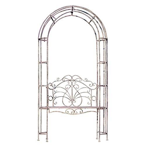 YICO Cenador de jardín con Banco de celosía, Enrejado de jardín de Hierro Forjado, Arco de Rosas para Enredaderas y Plantas, 105 x 200 cm