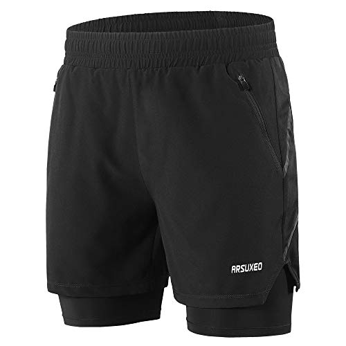 Lixada Men's 2-in-1 Running Shorts Quick Drying Breathable Active Training Exercise Jogging Workout Shorts with Zipper Side Pockets/Back Pocket, Longer Liner & Reflective Elements