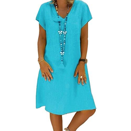 foreverH Sommerkleid Leinen Kleider Damen V-Ausschnitt Strandkleider Einfarbig A-Linie Kleid Boho Knielang Kleid Ohne Zubehör (Blau, L)