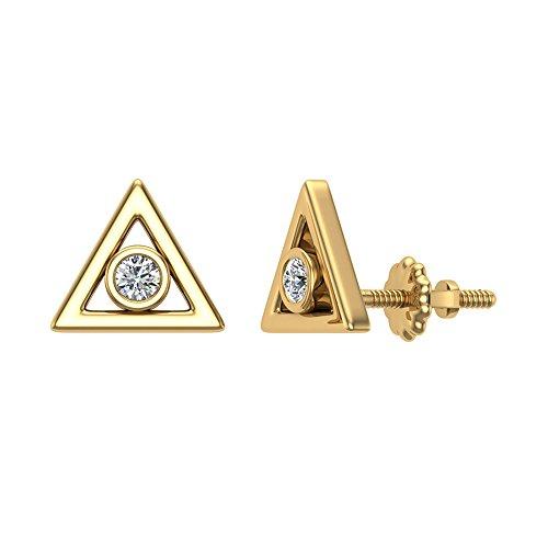 Diamond Earrings Triangle Shape Studs 10K Yellow Gold - Bezel Setting Screw Back Posts (0.10 carat total) (0.1 Ct Diamond Bezel)