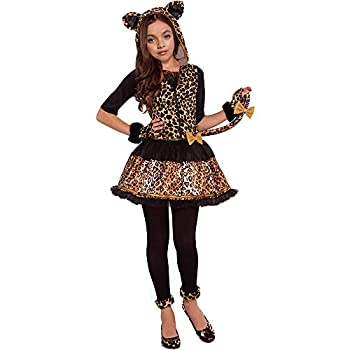 Girls Wild Cat Costumes Leopard Print Costumes with Glovelettes,Tights,Tail Medium 8-10