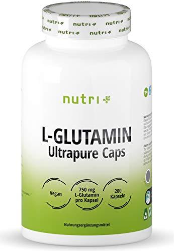 L-GLUTAMIN Kapseln vegan + hochdosiert - 200 Mega Caps - 750mg pure L-Glutamine pro Kapsel - höchste Dosierung - Fitness & Bodybuilding - pflanzlich - Ultrapure ohne Zusatzstoffe