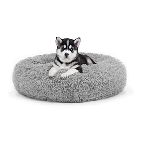 The Dog's Bed Sound Sleep Donut Dog Bed, Small Silver Grey Plush Removable Cover Premium Calming Nest Bed