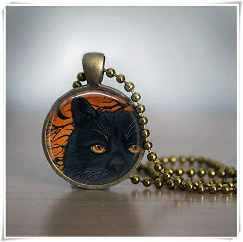 Halloween-Halskette, Halloween-Schmuck, Glasfliesen-Kette, Katzenschmuck, schwarze Halskette aus Glas und Fliesen, Schmuck aus Kupfer