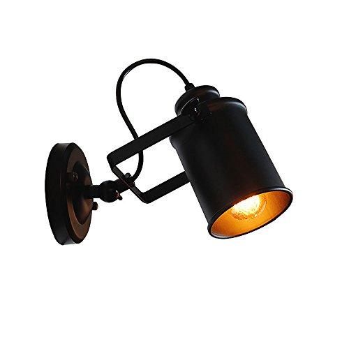 Lampada da parete in metallo, 1 X E27 retrò lampade da parete per interni letto lato sala da pranzo lounge (Retro nero)
