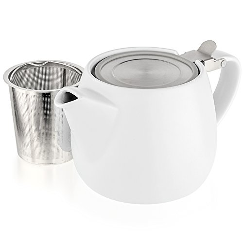 Tealyra - Pluto Porcelain Small Teapot White - 18.2-ounce (1-2 cups) - Matte Finish - Stainless Steel Lid and Extra-Fine Infuser To Brew Loose Leaf Tea - 540ml