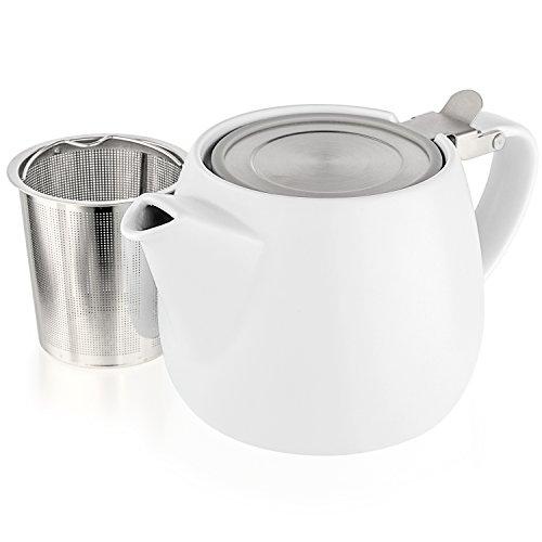 TealyraKleine Teekanne aus Porzellan, Modell Pluto, keramik, weiß, 18.2-ounce