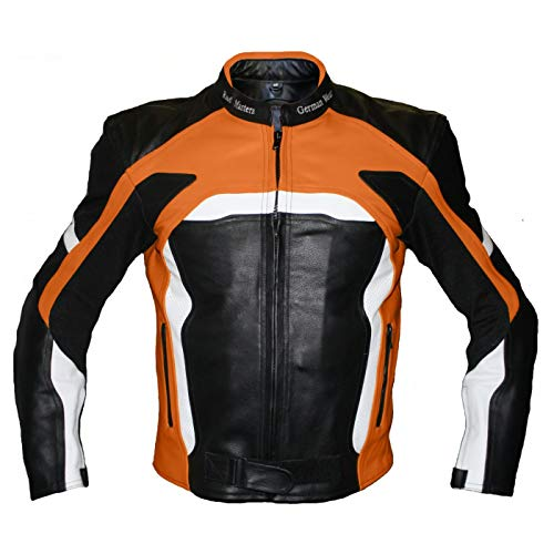 German Wear Motorradjacke Lederjacke Biker lederjacke 4x Farbauswahl, Frabe:Orange;Größe:M