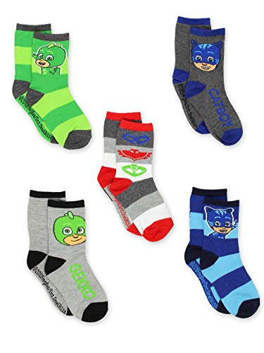 PJ Masks 5 pack Boys Toddler Crew Sock Set (4-6 Toddler/Shoe: 7-10, Grey/Multi Crew)
