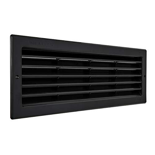 La Ventilazione PR3713N - Rejilla de ventilación rectangular de plástico negro para empotrar con red antiinsectos, color negro, dimensiones 370 x 130 mm