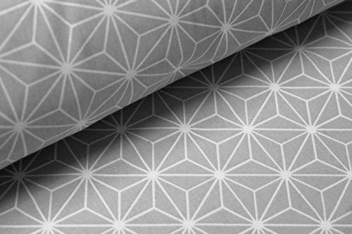La fraise rouge Popeline Tissu en coton gris avec motif géométrique 150 x 50 cm