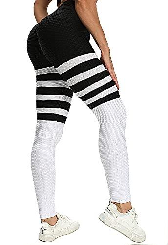 FITTOO Leggings Sin Costuras Yoga Mujer Pantalon Deportivo Super Elásticos Alta Cintura Seamless #1 Negro & Blanco Small