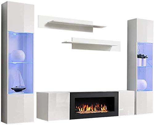 Wandmontierter Wohnzimmer-TV-Schrank, einfach zu montieren, TV-Schränke mit Bio-Kamin und Wandschränke mit LED-Beleuchtung,White