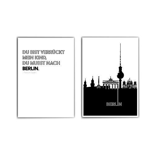 2er Berlin Poster Set - in din a4 oder 30x40cm - Berlin Skyline & Spruch Bild - City - Typografie - schwarz weiß - ohne Bilderrahmen
